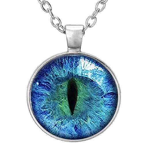 Beautiful Colored Blue Cat Eye Glass Cabochon Silver Pendant Necklace