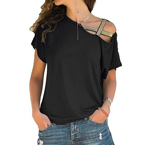 Tee Shirt Spalle Scoperte Moda Blusa Paillettes Camicie Estive Donna Maglietta Monospalla Camicetta Manica Corta Casual Tunica Top Asimmetrico Pullover Felpa Sweatshirt Tumblr T-Shirt Tinta Unita