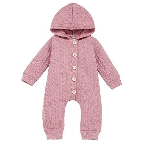 Topkeal - Mono de punto de manga larga para bebé, mono monocromático con capucha para niños pequeños A_rosa. 70 cm