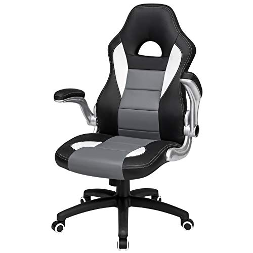 SONGMICS オフィスチェア 跳ね上げ式 事務椅子 座面昇降 頭部までハイバック 肉厚クッション おしゃれ OBG028G01