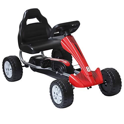 HOMCOM Go-Kart für Kinder Tretfahrzeug Tretauto Kinderfahrzeug mit Pedalen 4 Räder Metall + Kunststoff Rot etwa 3 Jahre