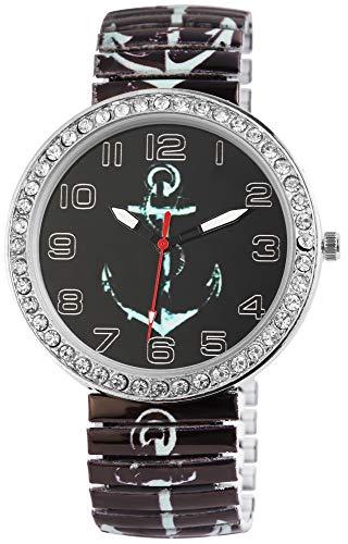DONNA KELLY Damenuhr Schwarz Silber Anker Schifffahrt Strass Crystal Analog Quarz Metall Modisch Zugband Arabische Ziffern Armbanduhr