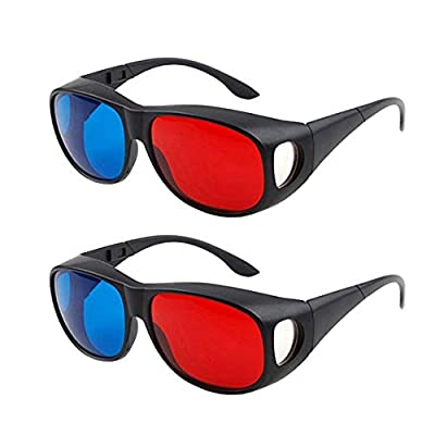 Solarson 2 Pairs 3D Glasses with Case Red Blue 3D Glasses for All 3D Movies Games TV Light Simple Design