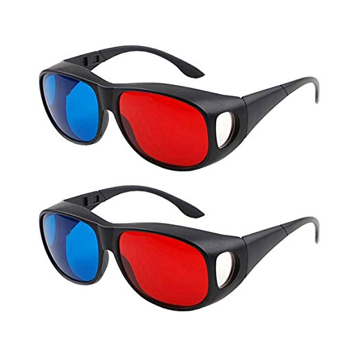 Solarson 2 Pairs 3D Glasses with Case Red Blue 3D Glasses for All 3D Movies Games Light Simple Design