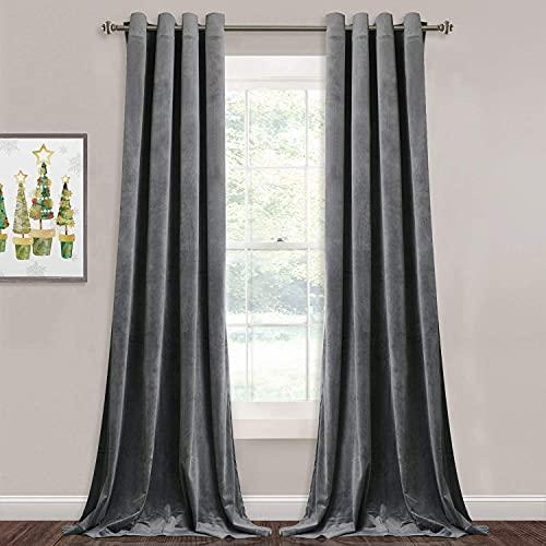 Grey Velvet Curtains for Living Room - 96 inches Long Light Blocking Velvet Curtain Panels Privacy Grommet Window Drapes for Bedroom / Sliding Glass Door, W52 by L96 inches, 2 Panels