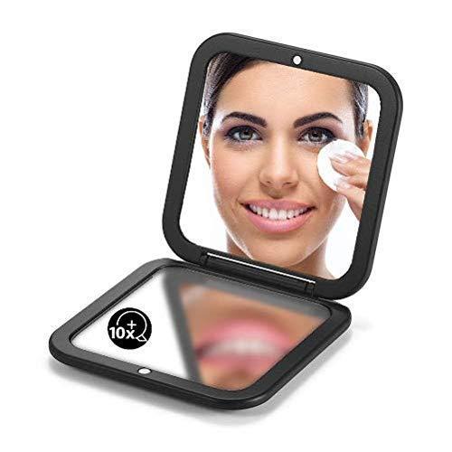 Espejo compacto con aumento de bolsillo 10X pequeño espejo plegable de viaje para bolso cuadrado 3.5  (negro)