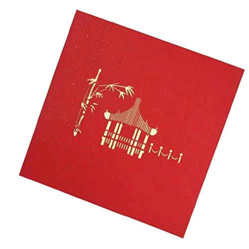 Odoukey 3D-Pop-Up-Karte Chinesischer Pavillon Feiertags-Gruß-Karte Hochzeit Geburtstag Muttertag 3D-Geschenk-Karten-Rot