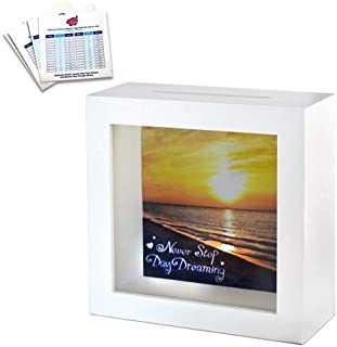 Travel Fund Shadow Box Bank - Shadow Box Bank with Slot | Wall Decor Home Decor White Wooden Shadow Box Piggy Bank with 3 Bonus Saving Ledgers Included