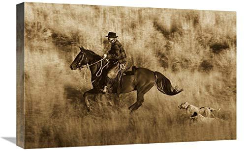 Global Gallery Caballo de Vaquero, seguido por Dos Perros, Oregon – Lienzo de Sepia, 61 x 40,6 cm