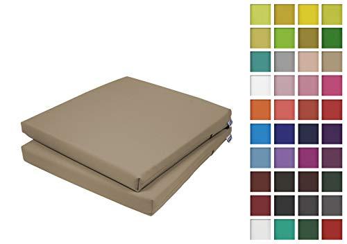 Rollmayer 2er Set Stuhlkissen Stuhlauflage Sitzkissen Sitzpolster Auflage für Stühle in Haus und Garten Kollektion Vivid (Beige 3, 40x40x4cm)