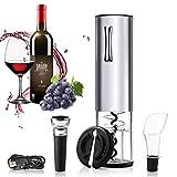 Ipow Sacacorchos Eléctrico Inalámbrico con 4 Accesorios de Vino, Abrebotellas Electrico Recargable USB, Abridor de Vino Electrico Ideal para Regalo Padre Hombre en Bar, Bodas