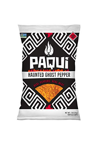 Paqui Spicy Hot Tortilla Chips, Gluten Free Snacks, Non-GMO, Haunted Ghost Pepper, (6 Count) (2 Ounce) Individually Sized Bags