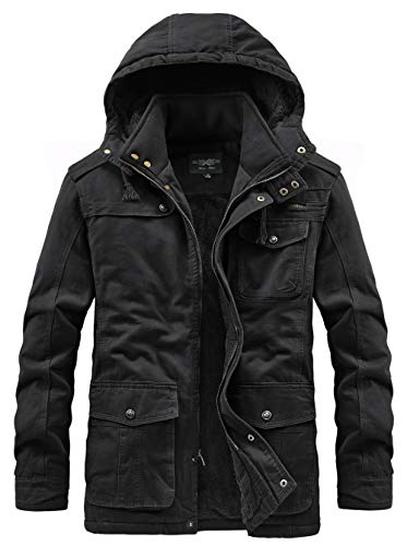 Heihuohua Men's Winter Military Jacket Thicken Cotton Coat with Removable Hood