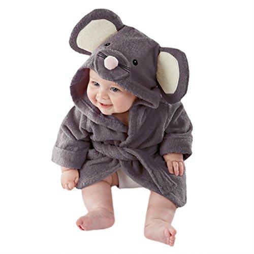 CuteOn Bébé Peignoir - Unisexe Bébé des Gamins Dessin animé Animal Flanelle Encapuchonné Peignoir de Bain Pyjamas Vêtements de Nuit Souris 110cm