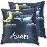 N\A Paquet de 2, Velvet Soft Decorative Square Throw Pillow Covers Set Sleep Whale Dream Coussin Case for Sofa Bedroom Car (TL)