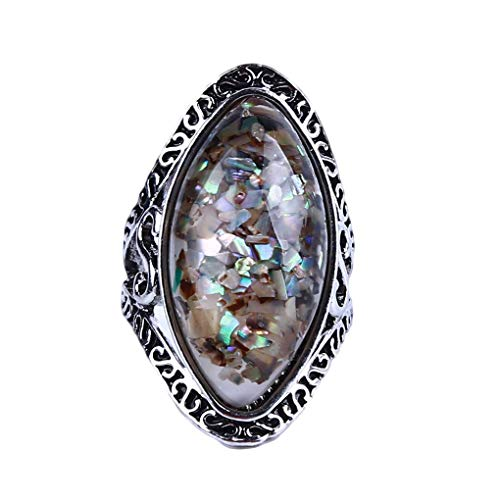 N-K Beautiful Ring Big Oval Shell Finger Ring Vintage Antique Magic Colorful Birthday Stone Female Ring for Women Statement Beach Lady Jewelry Gift SuperiorQuality and Creative