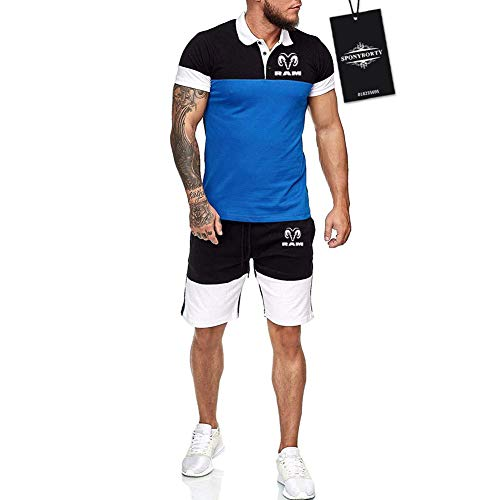 Hickeyy Hombres Solapa Camiseta Bermudas Chandal Conjunto por R_A-M Algodón Dos Piezas Corto Manga Tee Pantalones Ropa Deportiva Sudaderas/Azul/L