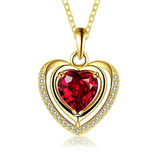 SWAOOS Collar con Colgante Chapado en Oro de Amor en Forma de corazón