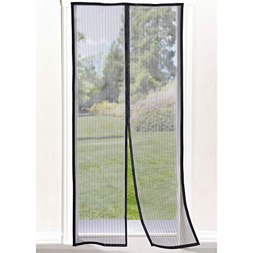 Magnetisch vliegengaas voor ramen en deur, met automatische magneetsluiting, zonder schroeven, verstelbaar, verkrijgbaar in verschillende maten en kleuren 140x240 zwart.
