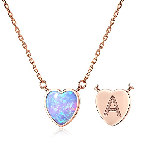 Women Initial Necklace Letter A 18K Rose Gold Heart Created Opal Necklace