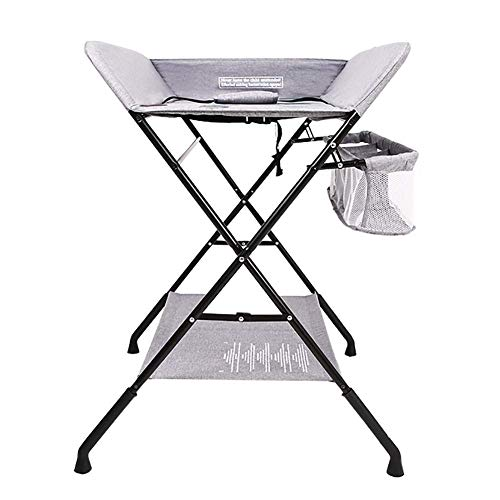 LNDDP Grey Infant/Nursery Changing Table with Non-Slip Safety Straps, Baby Dressers Diaper Station Foldable, Cross Leg Style
