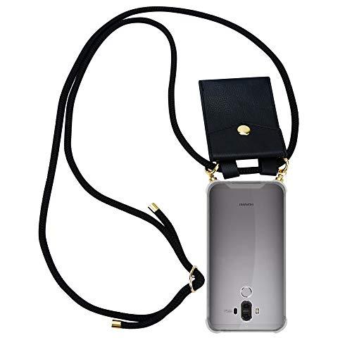 Cadorabo Handy Kette für Huawei Mate 9 in SCHWARZ – Silikon Necklace Umhänge Hülle mit Gold Ringen, Kordel Band Schnur & abnehmbarem Etui – Schutzhülle