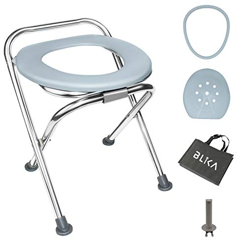 BLIKA 16.5' High Stainless Steel Folding Portable Toilet Seat, Outdoor Portable Toilet with Lid, Carry Bag and Plastic Ring, Camp Toilet Seat Perfect for Camping, Boating, Traveling & Roadtripping