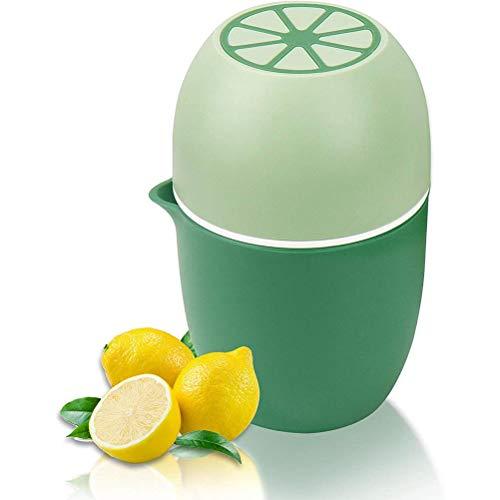 KUANPEY Exprimidor portátil de zumo de naranja de 5.9 x 3.7 pulgadas, exprimidor de limón cítrico de mano con taza de medición integrada, exprimidor de limón de tapa manual para frutas (verde)