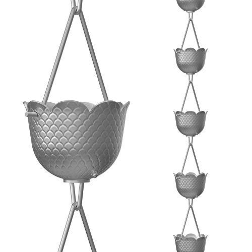 Cadenas de lluvia de piña directa, 8.5 pies de longitud, aluminio, gris, funcional y decorativo repuesto para canalones