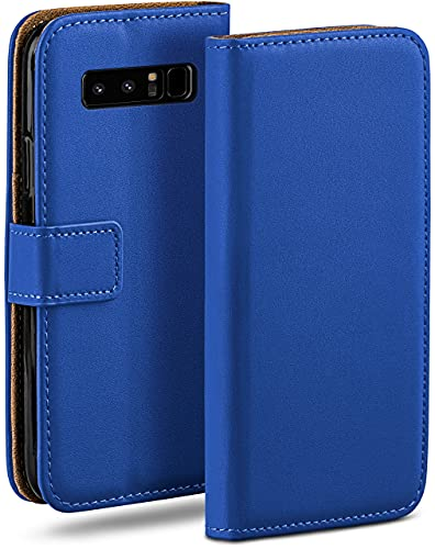 moex Klapphülle kompatibel mit Samsung Galaxy Note8 Hülle klappbar, Handyhülle mit Kartenfach, 360 Grad Flip Hülle, Vegan Leder Handytasche, Blau