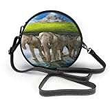 BAODANLA Bolso redondo mujer Women's Round PU Leather Crossbody Satchel Shoulder Handbag Elephant Riding A Turtle Circle Tote Shopping Bag For Girls Sling Bag
