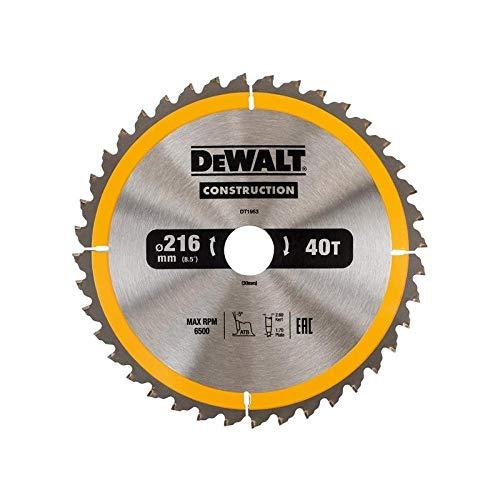 DeWalt Bau-Kreissägeblatt für Stationärsägen/Kreissägenblatt (216/30 mm 40WZ, universeller Einsatz und Querschnitte) DT1953