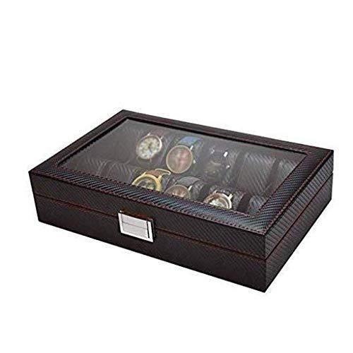 YUTRD ZCJUX Box-Reloj del Caso de exhibición y Organizador Hombres |Joyería de Primera Clase sostenedor del Reloj |Negro Elegante del Color, Tapa de Vidrio, Fibra de Carbono, Cuero de imitación