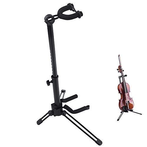 Rayzm Geigenständer mit Bügelfassung, verstellbares, tragbares, klappbares Stativ Metallständer für Violine / Ukulele / Mandoline, einfach auf- und abzubauen