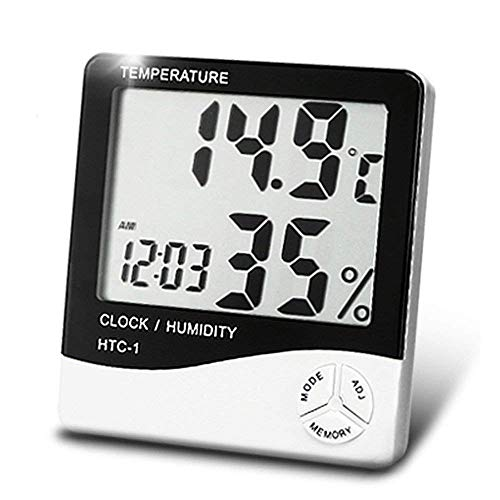 RC Enterprises Digital Wall Mounting Alarm Clock with Temperature and Humidity Hygrometer Thermometer with Large LCD Display and Inbuilt Sensor (White)
