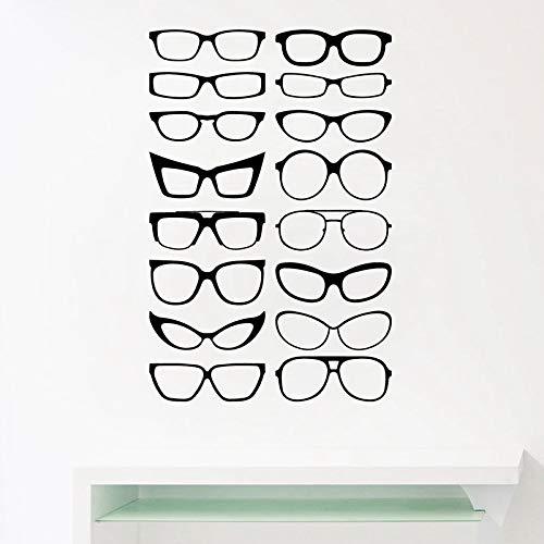 LSMYE Brillen Spezifikationen Rahmen Vinyl Wandaufkleber, Brillenrahmen Kunst Aufkleber Optische Shop Optiker Büro Fenster Tür Dekor Dunkelgrau 86x56 cm