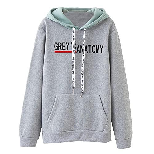 Sudaderas con Capucha Grey'S Anatomy Sudaderas Unisex Pullover Tops Casuales Jersey de Moda Chándal Hombres y Mujeres Harajuku Casual Llanura
