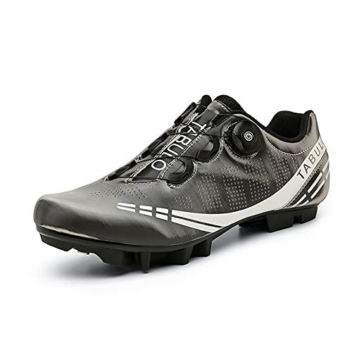 Zapatillas de Ciclismo MTB Hombre Mujer Zapatillas de Bicicleta de Montaña Zapatillas Deportivos con Pedal Autoblocante SPD Grey-265