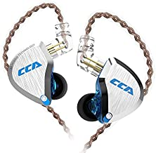 CCA C12 in Ear Monitor, 5BA+1DD Balanced Armature Drives HiFi Bass in Ear Earphone Headset Noise Cancelling Earbuds Zinc Alloy Headphones with Detachable Cable Universal-Fit 0.75mm 2PIN (No Mic, BlUE)