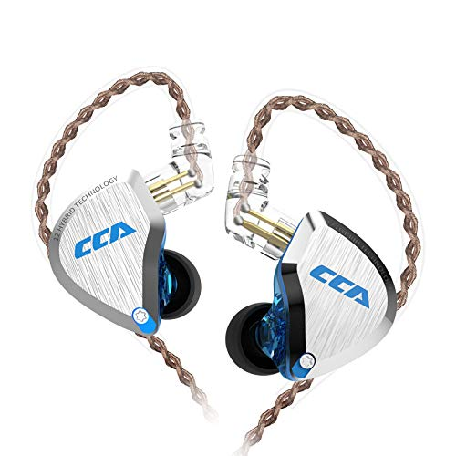 CCA C12 in Ear Monitor, 5BA+1DD Balanced Armature Drives HiFi Bass in Ear Earphone Headset Noise Cancelling Earbuds Zinc Alloy Headphones with Detachable Cable 0.75mm 2PIN (No Mic, Blue)