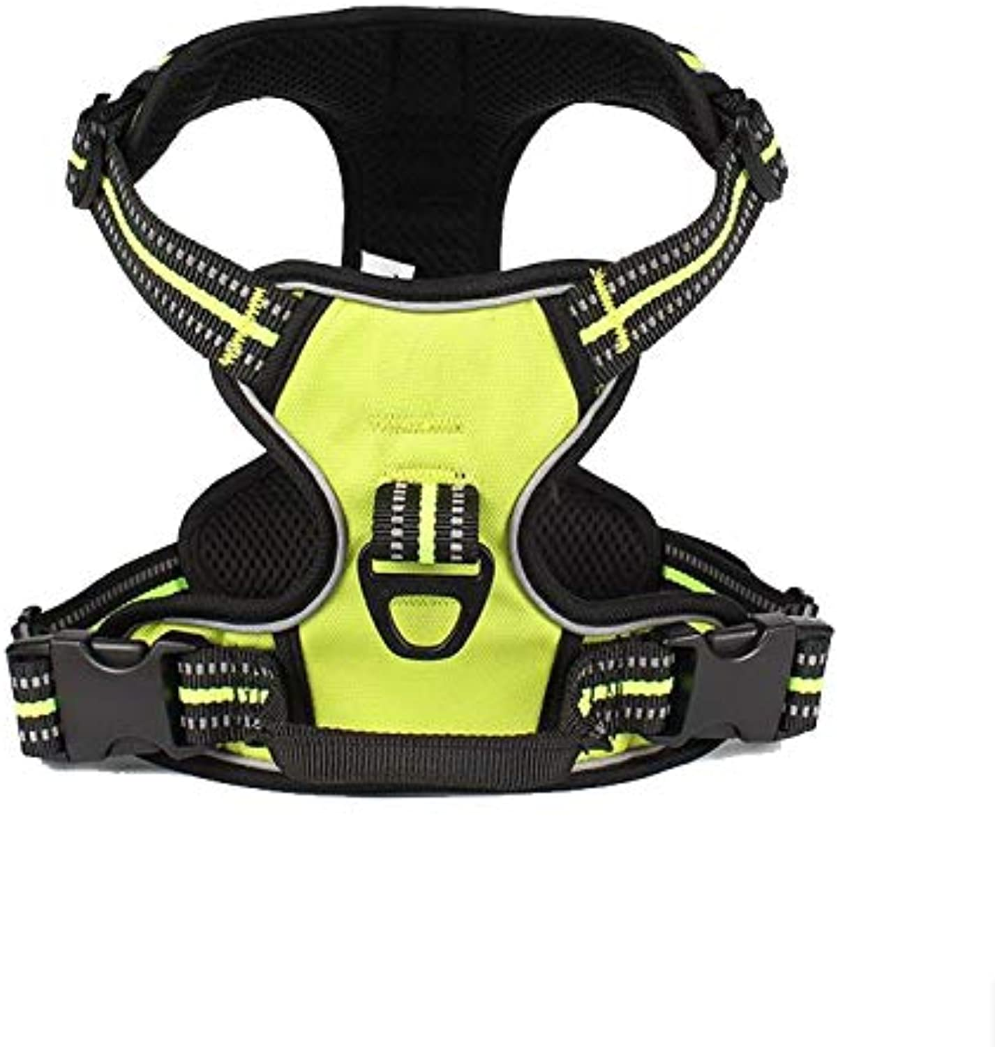FurryFriends No Pull Dog Harness Pet Adjustable Vest for Outdoor Walking Durable Set Heavy Duty Perfect Daily Training Running Safety Service Dog Vest Harness Quality Nylon (Large, Lime Green)