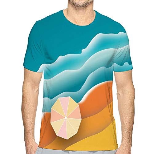 ncnhdnh Short Sleeve T-Shirtaerial Beach Scene Sand Surf Umbrella ma Unisex T-Shirt XL