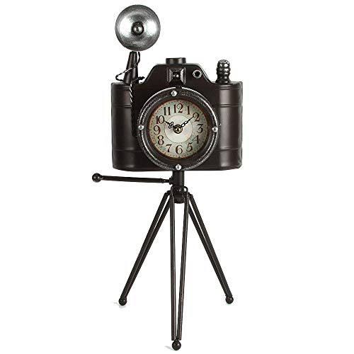 Large Metal Vintage Camera and Tripod Quartz Mantel Clock