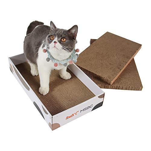 ComSaf Kratzbrett für Katzen mit Katzenminze, Katzen Spielzeug Wellpappe Kratzmatten, Recycelbar Kratzpad, Qualitäts-Pappe, 43 x 25 x 2.5 cm, 3er-Set