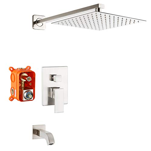 POP Brushed Nickel Tub and Shower Faucet Set Bathroom Luxury Rainfall Shower System wtih Tub Spout Single Handle Bathtub Wall Mounted 10 Inch Shower Head Set Tub Shower Trim Kit with Rough-in Valve