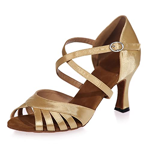 Love Shoes Zapatos De Baile Latino Estándar Zapatos De Baile De Tango para Mujer Correa Cruzada Hebilla Sandalias Zapatos De Baile De Salón Suela Blanda,Oro,36EU/5UK