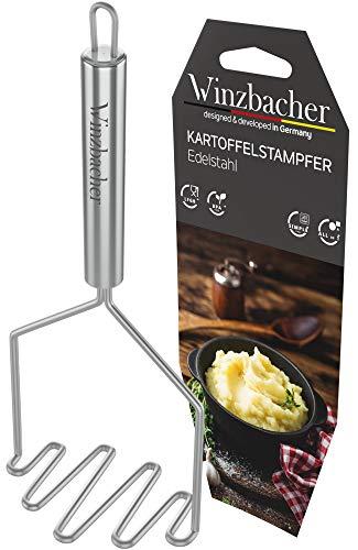 Winzbacher® - Edelstahl Kartoffelstampfer [Spülmaschinenfest] ideal zum Pürieren oder Stampfen von Kartoffel, Gemüse oder Obst   Stampfer   mit praktischer Aufhängeöse