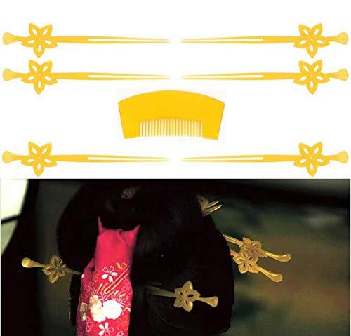 おいらん 遊女風 舞妓 芸者風 かんざし7点セット 花魁簪 髪飾り 結婚式 着物 和装 歌舞伎