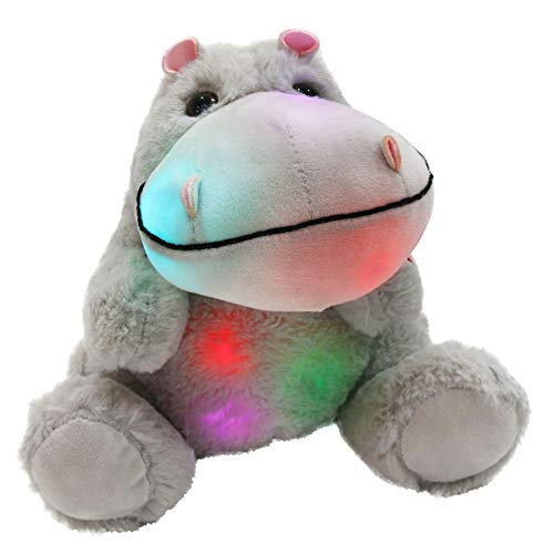 WEWILL Glow Hippo LED Stuffed Animal Plush Soft Toys Bedtime Companion Gift for Kids on Birthday Christmas Festival Occasions, 10 inch, Gray