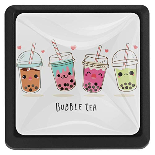Milk Tea Straw Cabinet knob Crystal Glass Furniture Square knobs for Kid's Gift to décor Kids Room Best Home décor for Cabinet Cupboard Dresser Pack of 3 1.45x0.98x0.66in